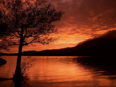 Red Sky at Sunset, Coniston Water, Consiton, Lake District, Cumbria, England, United Kingdom