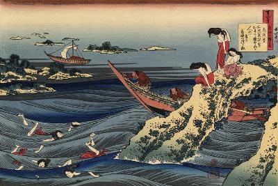Pearl Divers (Sangi Takamura)-Hokusai Katsushika-Giclee Print