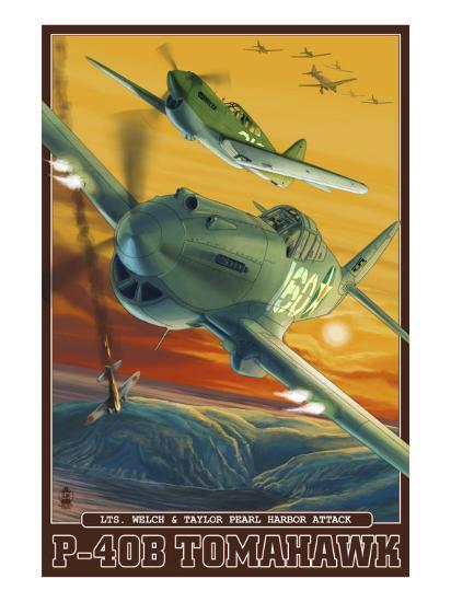 Pearl Harbor, Hawaii - P-40B Tomahawks, c.2008-Lantern Press-Art Print