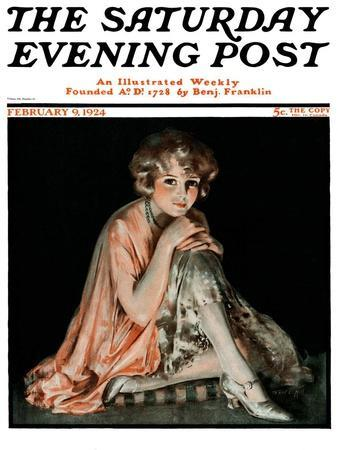 """Pensive Woman,"" Saturday Evening Post Cover, February 9, 1924"