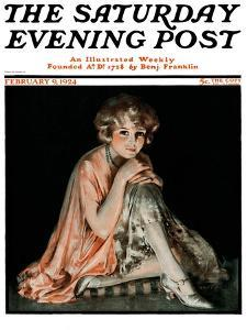 """""""Pensive Woman,"""" Saturday Evening Post Cover, February 9, 1924 by Pearl L. Hill"""