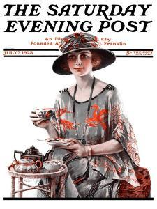 """""""Teatime,"""" Saturday Evening Post Cover, July 7, 1923 by Pearl L. Hill"""