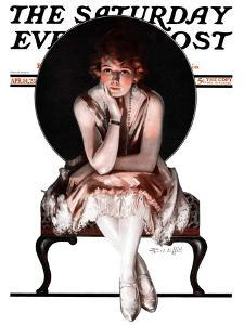 """""""Waiting,"""" Saturday Evening Post Cover, April 14, 1923 by Pearl L. Hill"""