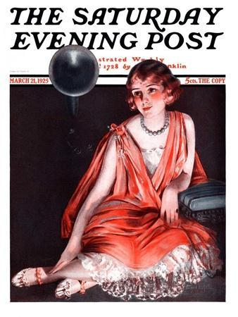 """""""Woman and Phonograph,"""" Saturday Evening Post Cover, March 21, 1925"""