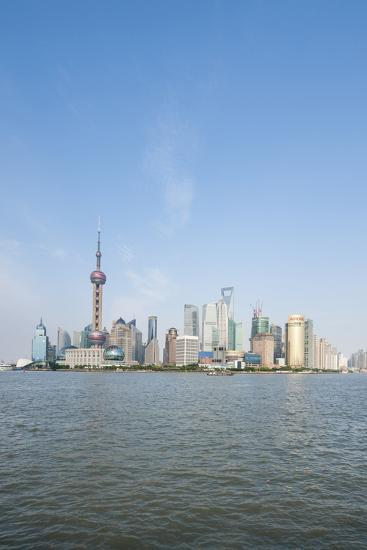 Pearl Tower over Pudong District Skyline and Huangpu River, Shanghai, China-Michael DeFreitas-Photographic Print