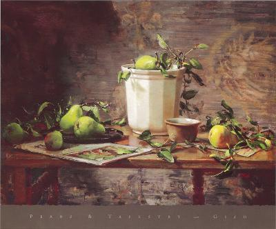 Pears and Tapestry-Del Gish-Art Print