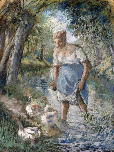 Peasant Crossing a Stream, C.1894-Camille Pissarro-Giclee Print