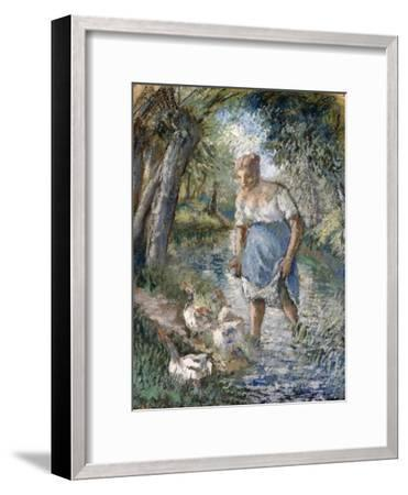 Peasant Crossing a Stream, C.1894-Camille Pissarro-Framed Giclee Print