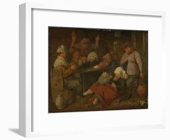 Peasant Drinking About-Adriaen Brouwer-Framed Art Print