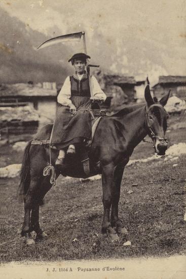 Peasant Girl of Evolene, Switzerland--Photographic Print