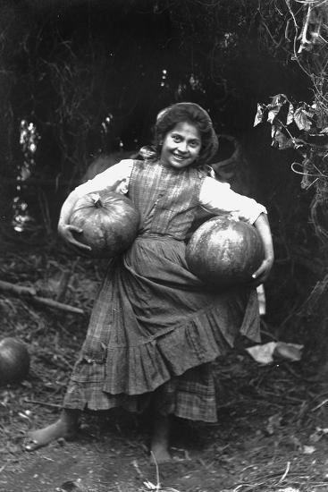 Peasant Girl with Pumpkins-Paolo Biondi-Photographic Print