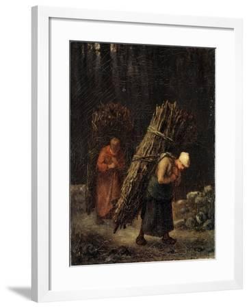 Peasant Girls with Brushwood, C1852-Jean Francois Millet-Framed Giclee Print
