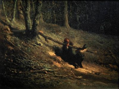 Peasant-Girls with Brushwood (Les Charbonniere), C1852-Jean Francois Millet-Giclee Print