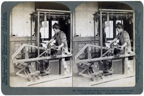 Peasant Housewife Weaving Cotton Cloth, Japan, 1904-Underwood & Underwood-Giclee Print