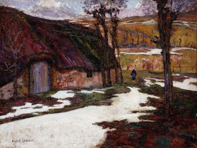 Peasant in Front of a Thatched Cottage; Paysanne Devant La Chaumiere-Victor Charreton-Giclee Print