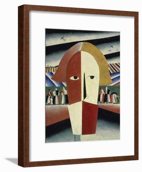 Peasant's Head, c.1928-1932-Kasimir Malevich-Framed Giclee Print