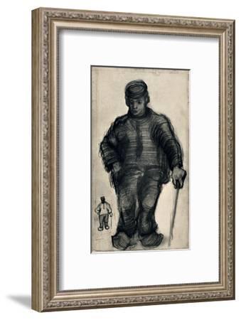 Peasant Walking-Vincent van Gogh-Framed Art Print