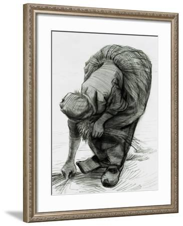 Peasant Woman Gleaning, c.1885 (Black Chalk)-Vincent van Gogh-Framed Giclee Print