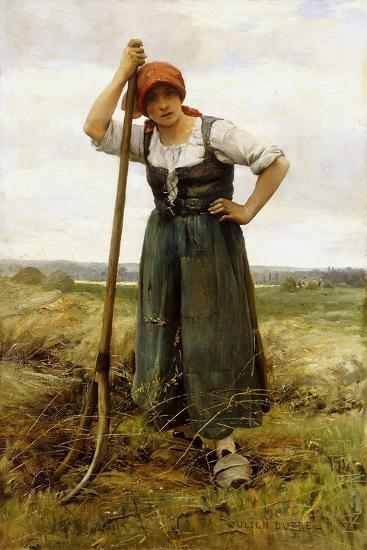 Peasant Woman Leaning on a Pitchfork-Julien Dupr?-Giclee Print