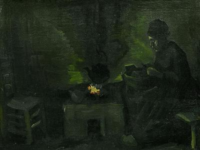 Peasant Woman Near the Fire-Place, c.1885-Vincent van Gogh-Giclee Print