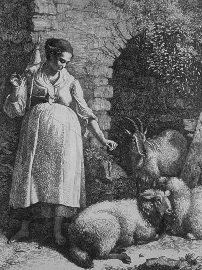 Peasant Woman Spinning Wool from Her Sheep and Goats--Photographic Print