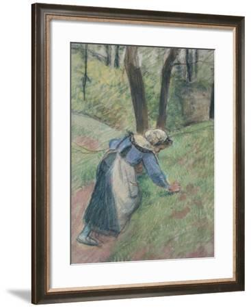 Peasant Woman Weeding the Grass (Pastel Heightened in Places with a Pink Wash)-Camille Pissarro-Framed Giclee Print