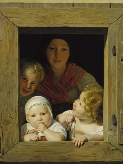 Peasant Woman with Three Children at the Window, 1840-Ferdinand Georg Waldm?ller-Giclee Print