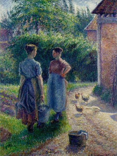 Peasant Women Chatting at Eragny, 1895-1902-Camille Pissarro-Giclee Print