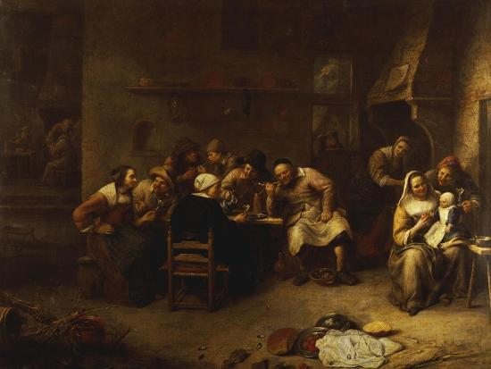 Peasants Drinking and Smoking in an Inn-Gillis Van Tilborch-Giclee Print