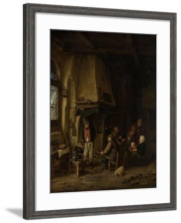 Peasants in an Interior-Adriaen Van Ostade-Framed Art Print