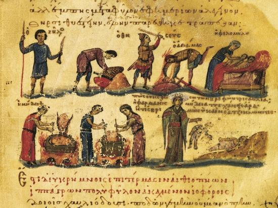 Peasants Lives, Miniature from Treaty on Hunting and Fishing, Manuscript, Greece 11th Century--Giclee Print