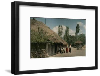 Peasants Outside Home Located on the Field of 1389 Battle of Kosovo-Hans Hildenbrand-Framed Photographic Print