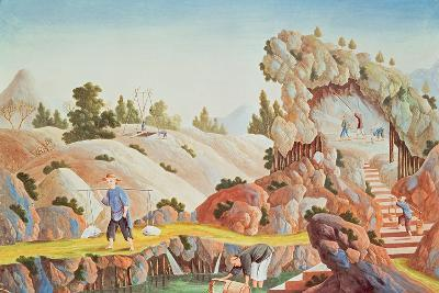 Peasants Quarrying and Collecting Kaolin for a Porcelain Factory--Giclee Print