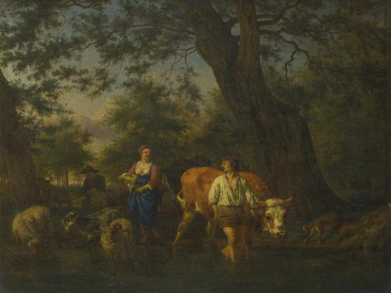 Peasants with Cattle Fording a Stream, Ca 1662-Adriaen van de Velde-Giclee Print