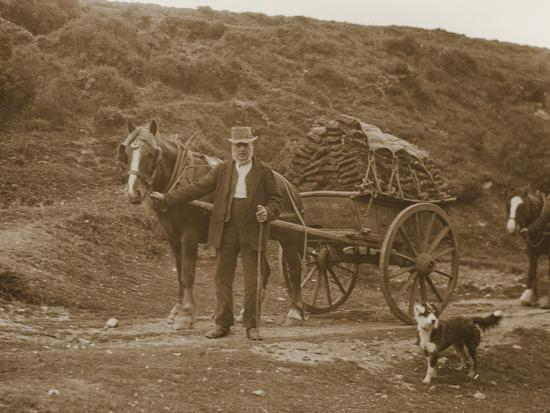 Peat Cutter's Cart, Dartmoor--Photographic Print