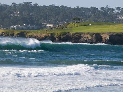 Pebble Beach Golf Course and Large Waves at Carmel Beach City Park-Rich Reid-Photographic Print