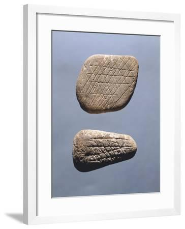 Pebbles Engraved with Geometric Patterns--Framed Giclee Print