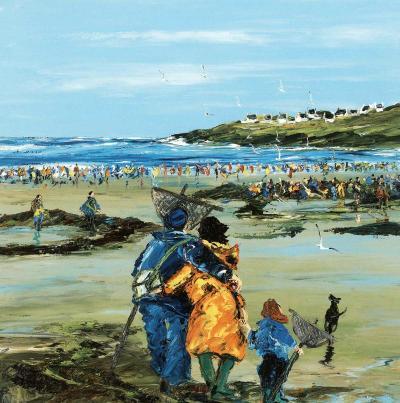 Peche a Pied En Famille-Christian Sanseau-Art Print