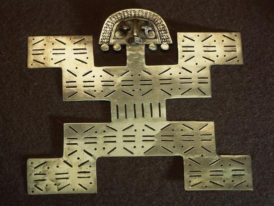 Pectoral Anthropomorphous 'Key Man' Type in Smelted Gold Shaped by Cire Perdue--Giclee Print