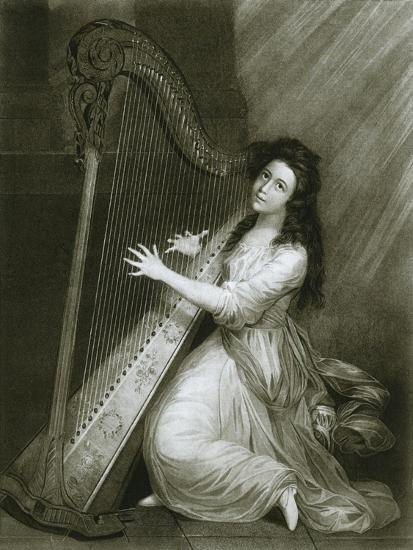 'Pedal harp with hook action; coloured engraving from the end of the eighteenth century', 1948-Unknown-Giclee Print