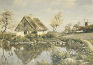 A Cottage by a Pond by Peder Mork Monsted