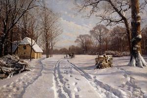 A Sleigh Ride Through a Winter Landscape, 1915 by Peder Mork Monsted