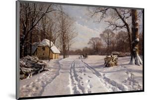 A Sleigh Ride through a Winter Landscape by Peder Mork Monsted