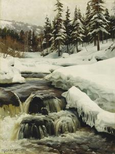 A Winter Landscape with a Mountain Torrent by Peder Mork Monsted