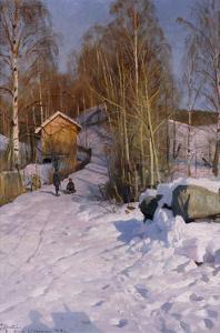 A Winter Landscape with Children Sledging by Peder Mork Monsted