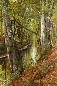 A Wooded River Landscape, 1893 by Peder Mork Monsted