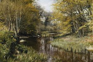 A Wooded River Landscape, 1909 by Peder Mork Monsted