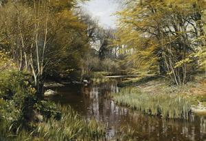 A Wooded River Landscape by Peder Mork Monsted