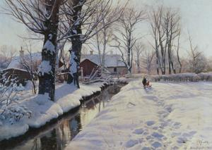 A Wooded Winter Landscape, Brondbyvester by Peder Mork Monsted