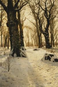 A Wooded Winter Landscape with Deer, 1912 by Peder Mork Monsted